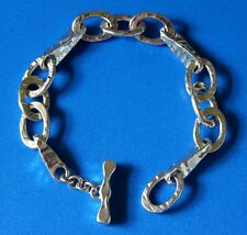 Big Chunky Hand Hammered Open Link Sterling Silver Toggle Clasp Bracelet Estate