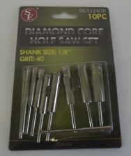"New 10Pc Diamond Core Hole Saw Set Grit 40 1/8"" Shank"