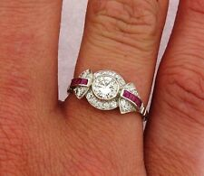 Stunning Art Deco .53 C Diamond Ruby Platinum Ring