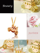 New Fashion Crystal Vintage Pink Pumpkin Cart Necklace Charm Pendant Long Chain