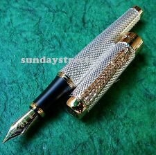 FOUNTAIN PEN - JINHAO 1200 CARVED SILVER RAIN DRAGON CARVED 18KGP NIB - NEW