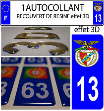 1 sticker plaque immatriculation auto DOMING 3D RESINE BENFICA PORTUGAL DEPA 13