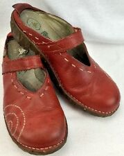 WOMENS EL NATURA LISTA MULES SIZE 41 9.5 USA RED LEATHER