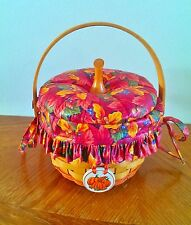 "LONGABERGER ""Pumpkin"" Basket Fall Foliage Fabric Lid/Liner/Plastic Insert/Tie On"