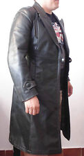 VINTAGE WW2 WEHRMACHT GERMAN ARMY OFFICER LONG JACKET BLACK LEATHER OVER COAT S