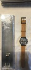 1992 SWATCH WATCH CHRONO SIRIO W/LEATHER BAND SCM101SWISS MADE AUTHENTIC