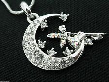 New Crystal Fairy Moon Women's Girls Pendant Necklace