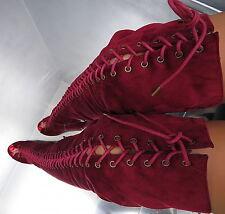 Hohe Overknee Lang Stiefel 1 cm Plateau Damen Boots N49 Schuhe High Heels 39