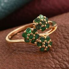Pretty Zambian Emerald Floral Cluster 14K Y Gold/925 Ring Size Q