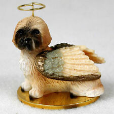 Lhasa Apso Dog Figurine Angel Statue Brown Sport Cut