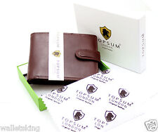 Topsum London linea uomo lusso marrone VT leather wallet Purse con tasca monete 4014
