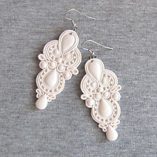 White Fimo Lace Light Long Dangle Chandelier Bridesmaids Wedding Gifts Earrings