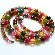 151.55CT 100% Natural Honey Green Pink Red Tourmaline Necklace CXL214