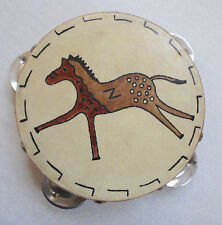 "5"" Child Size Tambourine Painted Horse Wood Frame Real or Fake Hide Percussion"