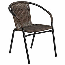 SET OF 4 Outdoor Stacking Brown Wicker Rattan & Metal Restaurant Cafe Arm Chair