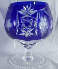 Ajka Marsala Cobalt Blue cut to Clear Brandy Snifter Glass Hungary