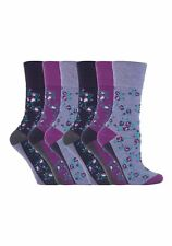 6 Prs Ladies Sockshop Cotton Gentle Grip Socks 4-8uk 37-42eur Floral Purple RH57