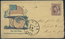 """1861 PEORIA, ILL. CDS ON """"THE OLD FLAG"""" CIVIL WAR PATRIOTIC COVER BS2533"""
