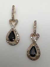 New 10K Yellow Gold Pear Shape Natural Sapphire and Diamond Dangle Earrings