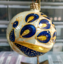 STYLIZED HANDPAINTED GLASS PEACOCK ORNAMENT WHITE BACKGROUND YELLOW OUTLINE