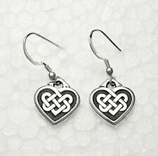 Celtic Love Knot Hearts Dangle Earrings *  Sterling Silver Over Pewter Boxed