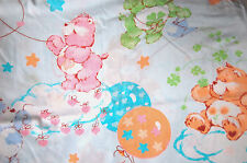 VTG CARE BEARS TWIN FLAT SHEET LIGHT BLUE COLRFUL DEPICTIONS FABRIC1980's #L9