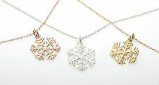 Women's 1.5mm Snowflake Pendant Necklace. Finished In Three Flawless Metals.
