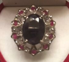 $1000  Estate Silver Natural Red Ruby & Deep Blue Sapphire Ring SZ 8