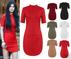 New Womens Ladies High Low Polo Neck Mini Bodycon Shirt Dress Size 8-26