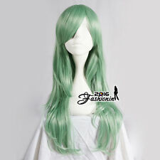 Girls 70cm Long Green Wavy Hair Synthetic Fashion Popular Women Cosplay Wig Gift
