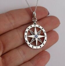 Compass Necklace - 925 Sterling Silver Graduation Direction Nautical North Star
