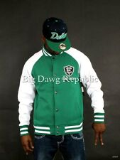 ECKO UNLTD MENS BOYS BASEBALL BOMBER COLLEGE STYLE FLEECE JACKET IS TIME MONEY