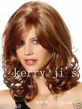 100% Real hair!New Charm Women's Medium Long Brown Blonde Curly Human hair wigs