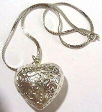 Bijou Vintage collier pendentif coeur couleur argent chaine serpent * 3883