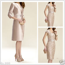 2015 Long Jacket Mother Of The Bride Lace Dresses 3/4 Sleeve Knee Length Sheath