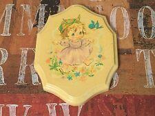 "1973 Antiqued Paula-Cutes Little Girl with Bluebird Plaque 3.25"" x 4.25"" CUTE"