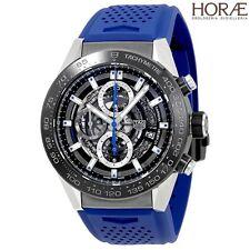 Tag Heuer Men's Carrera HEUER 01 CHRONO 45mm steel blue titanium skeleton NEW