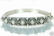 Solid 925 Sterling Silver Mother of Pearl & Marcasite Cuff Bracelet '