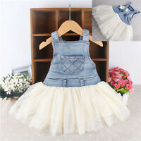 Fashion Baby Girls Princess Summer Dress Clothes Kids Denim Jeans Tulle Dresses