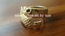 Feng Shui - Adjustable Rose Gold Black-Eyed Arowana Ring