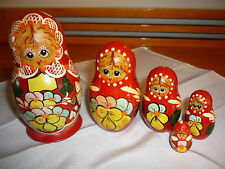 VINTAGE RUSSIAN NESTING DOLLS  - SET OF 5 - hand paint- signed by artist # 10