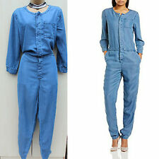 Tommy Hilfiger Blue Denim Women's Bo Overall Tapered Tencel Jumpsuit 30-32 14-16