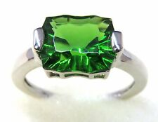 #R4550 4.17ct Forest Green Helenite Concave Cut 925 Solid Sterling Silver Ring