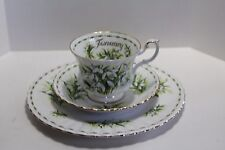 Royal Albert Flower of the Month JANUARY SNOWDROPS Tea Cup, Saucer & Plate Trio