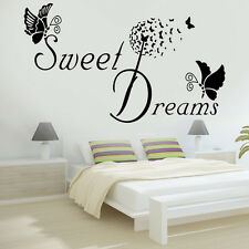 BIG SWEET DREAMS Butterfly LOVE Quote Wall Stickers Bedroom Removable Decals DIY