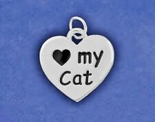 Cat Charm Pendant Sterling Silver Pl Reversible I Love My Kitty Paw Print Heart