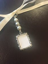 Bridal Bouquet Photo Frame Memory Charm Wedding Handmade Ivory Swarovski Beads