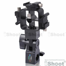 Tri-Hot Shoe Mount Flash Bracket/Umbrella Holder fr Nikon Metz Pentax Speedlight