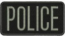 police embroidery patches 3x6  hook on back gray letters