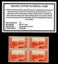1934 - GRAND CANYON NAT'L PARK - Vintage Mint -MNH- Block of Four Postage Stamps